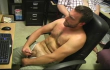 Bear jacking off in the office