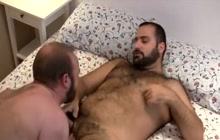 2 horny bears fucking on bed