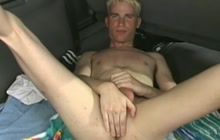 Blonde twink masturbates in the back of his car