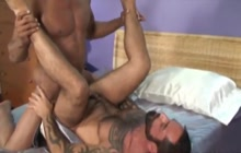 Aron Ridge and Tom Colt interracial gay fuck