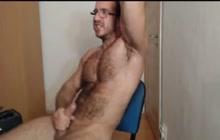 Hot muscled bear masturbates and cums on webcam
