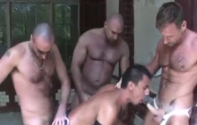 3 muscled guys bareback fuck Latino bitch