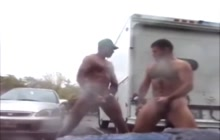 Nude bears jekring outdoors