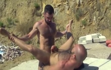 Muscled Bald Guy Fucked Outdoor