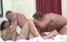 Three horny gay guys in steaming threeway