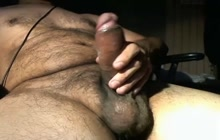 Hot and horny bear boyfriend jerking and cumming