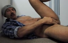 Naughty daddy jerks off and licks his own cum