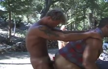 Horny gays in outdoor bareback group sex