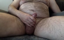 Bear boyfriend masturbates and cums on webcam