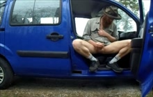 Daddy jerking off and cumming inside parked car