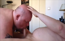 Bald guy gives great blowjob