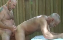 Hairy old lovers fucking outdoor