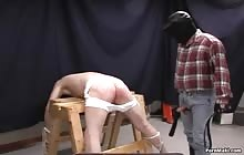 Tied dude gets spanked and fucked by masked man