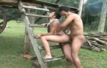 Hot Latin studs fucking outdoor