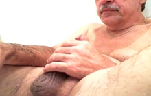Fat mature dude jacking off