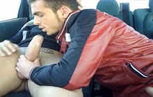 Sexy hunks fucking in the car