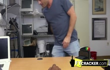 Sexy gay jock got horny after seeing his co worker big black cock under the table.