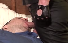 Tied Guy Gives A Blowjob