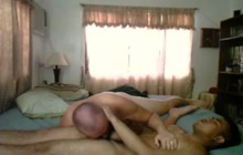 Daddy enjoys hot blowjob with his young love partner