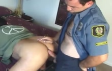 Police officer and horny bear