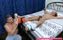 Tied Asian twink fucked by horny daddy