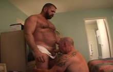 Dirty DILF sucking his fuckers cock