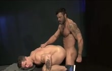 Big muscled jock stretches lover's ass