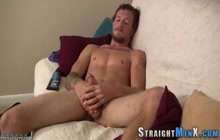 Inked straighty in solo jerks his dick