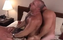 Hotel Room Threesome With Muscled Studs