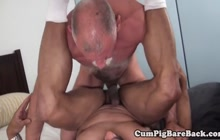 Bear gets his dick sucked and ass fucked by his lover
